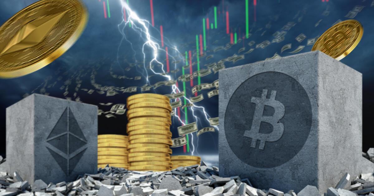 仮想通貨市場、時価総額が1兆3,000億ドルを下回る